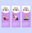 yoga kids flyers design with girls vector image vector image