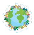 Global travel concept - cute design vector image