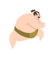 angry sumo wrestler character japanese martial vector image vector image