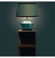 bedside table wiht night lamp and light vector image vector image