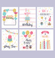birthday party cards happy birthday pastel vector image