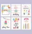 birthday party cards happy pastel vector image