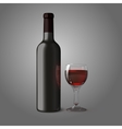 Blank black realistic bottle for red wine with vector image vector image