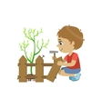 Boy Fixing The Fence vector image vector image