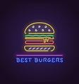 burger neon banner vector image vector image