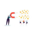 businessman character attracting money with magnet vector image