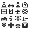 car traffic and driving icons set on white vector image