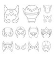 carnival mask outline icons in set collection for vector image