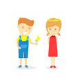 cartoon character boy and girl in loving vector image vector image