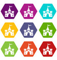 castle building icons set 9 vector image vector image