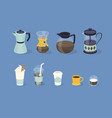 different types coffee in paper and glass cup vector image vector image