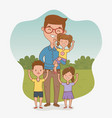 Father and kids characters card
