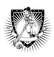 field hockey shield vector image vector image