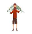 fisherman fishing with fish fishing man holds vector image vector image