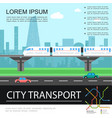 flat city transport colorful template vector image vector image