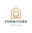 furniture interior sofa house outline logo icon vector image