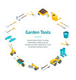 garden tools 3d banner card circle isometric view vector image vector image