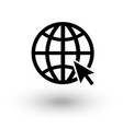 globe wireframe black and white web symbol icon vector image vector image