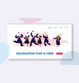 graduating students in gowns and caps jumping vector image vector image