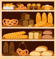 grocery breads shelves bread and fresh pastries vector image