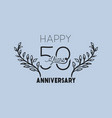 happy anniversary number fifty with wreath crown vector image