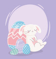 happy easter day sleeping rabbit with eggs vector image