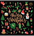 happy new year and merry christmas doodle set vector image