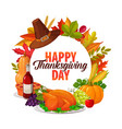 happy thanksgiving day cartoon round frame vector image vector image