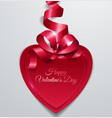 happy valentines day with red paper heart and vector image