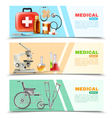 Healthcare Flat Medical Horizontal Banners Set vector image vector image