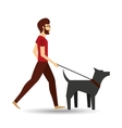 man bearded walking a gray dog vector image vector image