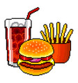 pixel fast food cola burger french fries detailed vector image