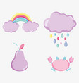 punchy pastel cartoons collection vector image