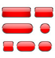 red glass oval round square buttons with chrome vector image vector image