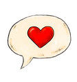 red heart in a speech bubble romantic design vector image