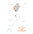 saint vincent and the grenadines map with vector image