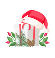 santa claus hat lying on gift bow with red ribbon vector image vector image