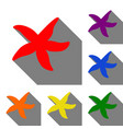 sea star sign set of red orange yellow green vector image vector image