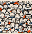 seamless pattern with people crowd for your design vector image