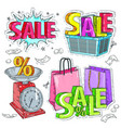 set colorful items for trade inscription of vector image