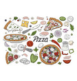 set of hand drawn italian pizza and vegetables vector image vector image