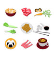 Set of japanese food icons asian cuisine elements