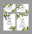 set of wedding cards invitation with lemon vector image
