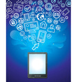 tablet pc with bright social media icons vector image vector image