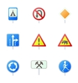 Traffic sign icons set cartoon style vector image vector image