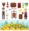 vinery farm and vinery grape agriculture making vector image