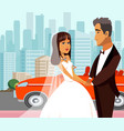 wealthy just married newlyweds flat vector image