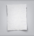 white crumpled sheet paper on a transparent vector image vector image
