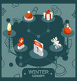 winter color concept isometric icons vector image vector image