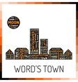 Wordcloud in shape of town vector image vector image